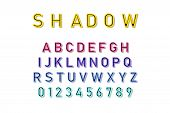Vector Shadow Font In Colorful Color On White Background. Font And Alphabet With Shadow. Lettering W poster