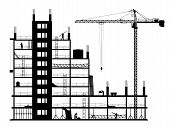stock photo of construction crane  - Construction of a building - JPG
