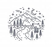 Monochrome Landscape With Tent And Campfire In Forest, River, Mountains And Night Sky Drawn With Bla poster