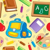 School theme seamless background 1 - vector illustration.