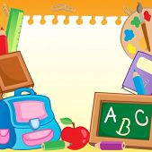 Frame with school supplies 2 - vector illustration.