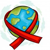 Illustration of a Globe Wrapped with an AIDS Awareness Ribbon