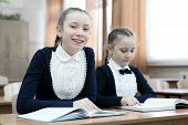 Schoolgirl Girls Write In  Notebook While Sitting At A Desk In A Classroom At School. Hair Braided I poster