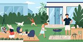Happy Family Spending Time In Backyard. Mother, Father And Children Performing Recreational Activiti poster