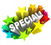 The word Special in a burst of stars representing a discount sale or praise or compliment for a person with different or unique qualities