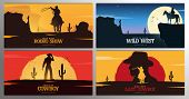 Set Of Cowboy Banners. Rodeo. Wild West Banner. Texas. Vector Illustration. poster