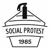 Social Protest Riot Logo. Simple Illustration Of Social Protest Riot Logo For Web poster