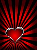 A vector valentines background with silver hearts on a deep red fan effect  backdrop