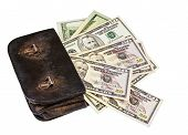 Old Wallet With Dollars Isolated On The White Background