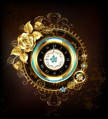Gold Clock, Decorated With Gold, And Gold Jewelry Rose Gears. Steampunk Style. poster