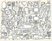 Notebook Doodle tecnologia Design elementos vetoriais ilustração conjunto de comerciais