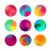 Round Gradient Set. Rounded Holographic Gradient Sphere Button poster