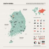 Vector Map Of South Korea. High Detailed Country Map With Division, Cities And Capital Seoul. Politi poster