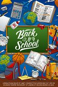 Back To School Education Poster With Student Supplies Pencils And Notebook. Vector Back To School Ch poster