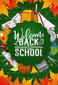 Welcome Back To School, Green Chalkboard Poster With Student Education Supplies. Vector Student Clas poster