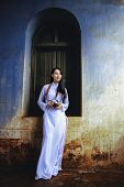 Beautiful Girl With Vietnam Culture Traditional Dress. poster