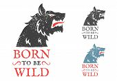 Vector Vintage Logo With Wolf. Vintage Emblem With Angry Wolf poster