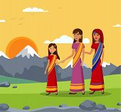 Girl With Mom And Gran, Indian Family Illustration. Old Lady, Woman And Grandchild Holding Hands Car poster