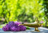 Oil Lamp. Magic Lamp. Genie Lamp. Lilac On Green Background poster