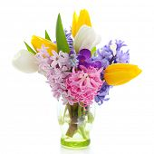 picture of flower-arrangement  - Beautiful spring flowers  isolated on white background - JPG