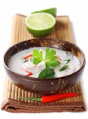 pic of thai food  - Thai chicken and coconut milk soup on white isolated background - JPG