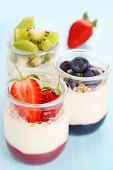 Natural yogurt with jam and fresh berries (strawberry, blueberry, kiwi)