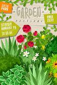 Garden Cartoon Vertical Poster. Outdoor Garden Landscape Isolated Plants Cartoon Vertical Frame Post poster