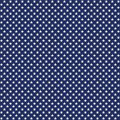 American Patriotic Seamless Pattern White Stars On Blue Background poster