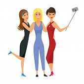 Happy Smiling Young Women Friends Taking Selfie Photo Vector Illustration. Friend Girls Taking Selfi poster