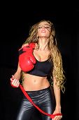 Sexy Sportwoman With Boxing Gloves. Workout. Fitness. Healthy Lifestyle. Boxing Gloves. Boxing Girl. poster