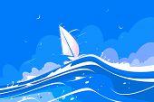White Sailing Yacht Vector Illustration. Pleasure Boat poster