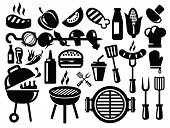 picture of hamburger-steak  - vector black barbecue icons set on gray - JPG