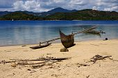Madagascar Nosy Be Boat Palm  Rock Stone Branch  Lagoon And Coastline
