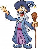 picture of clip-art staff  - Happy cartoon wizard - JPG