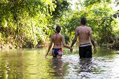 young couple in water