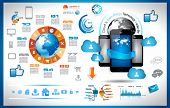 Infographic with Cloud Computing concept - set of paper tags, technology icons, cloud cmputing, grap