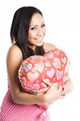 Asian Woman Hugging Heart-Shaped Balloon