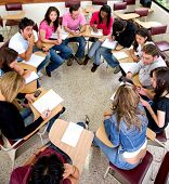 stock photo of students classroom  - students during a class in a classroom at university - JPG