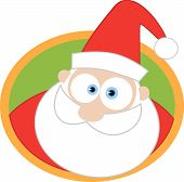 Santa Face And Round Background