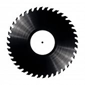 Vinyl record with circular saw blade edges.