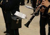 Marching Military Band At The Parade. Clarinet