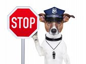 stock photo of policeman  - police dog with a street stop sign - JPG