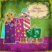 Happy New Year - Set of Colorful Hand Drawn Patterned Gift Boxes, with bows, grungy background and whimsical copy space label