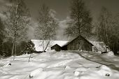 old farm, barn set in rural snowy winter landscape, duplex toning idea