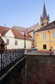 Foreshortening view of the historic center of Sibiu in Romania