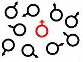 One Red Female Symbol.