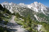 panorama of mountain range Albanian Alps from the trail that by the pass of  Valbona go down into the Valley with the same name