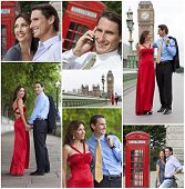 Montage of romantic man and woman couple on vacation seeing the sights and landmarks in London, England, Great Britain poster