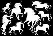 stock photo of unicorn  - unicorns fine vector silhouettes  - JPG