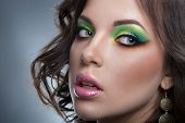 Portrait of beautiful woman model with professional makeup